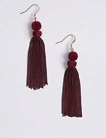 Sleek Velvet Tassel Drop Earrings