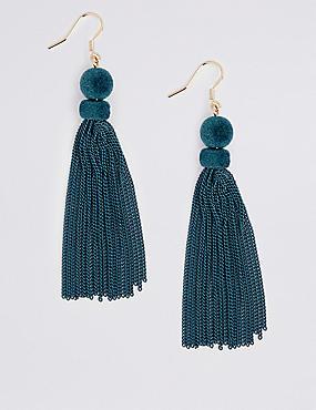 Sleek Velvet Tassel Drop Earrings
