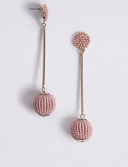 Beaded Stick Ball Drop Earrings