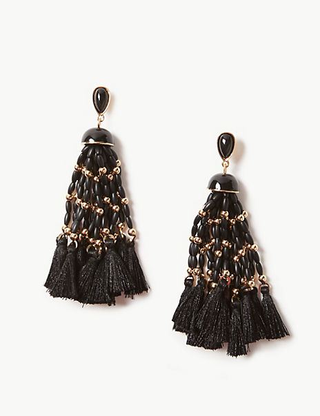 Multi Bead Tassel Drop Earrings