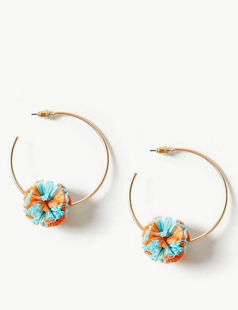 Raffia Pom-Pom Earrings