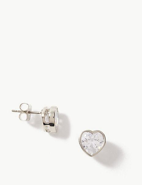 Platinum Plated Heart Stud Earrings
