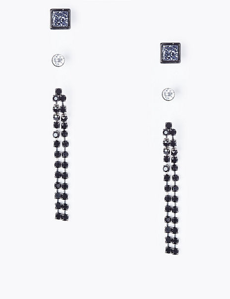 Stud and Chain Drop Earring Pack