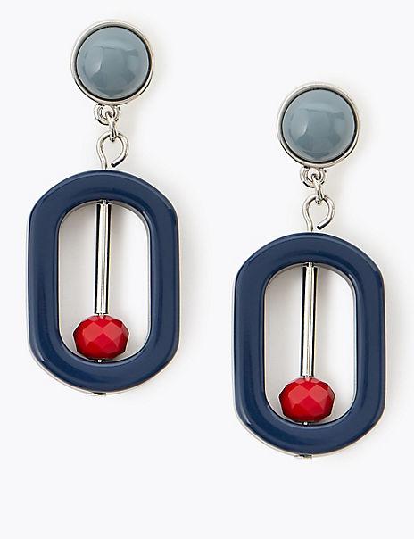 Oval Bar Drop Earrings