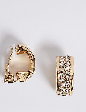 Sparkle Clip-On Hoop Earrings