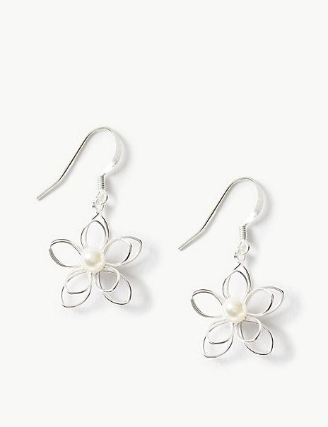 Pearl Effect Flower Drop Earrings