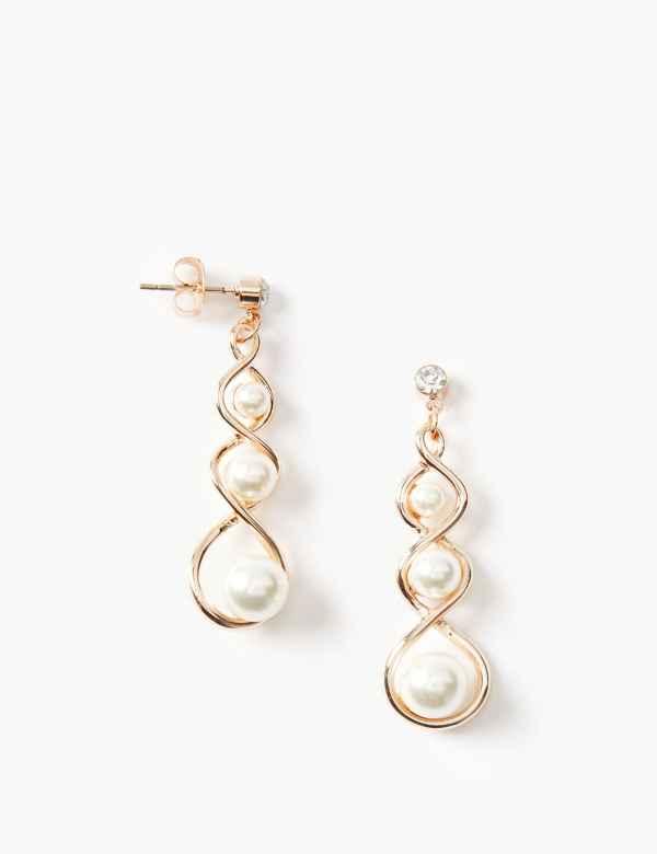 Pearl Twist Drop Earrings