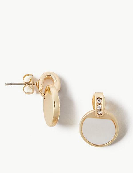 Gold Plated Moon Drop Earrings