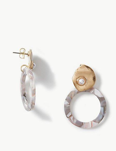 Pearl Circle Drop Earrings