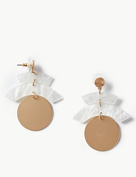 Resin Layered Disc Drop Earrings