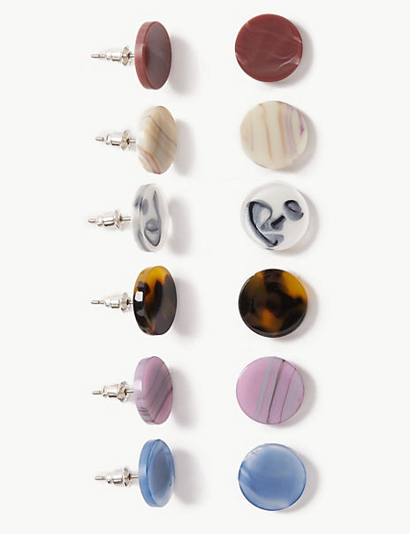 Resin Multi Pack Stud Earrings