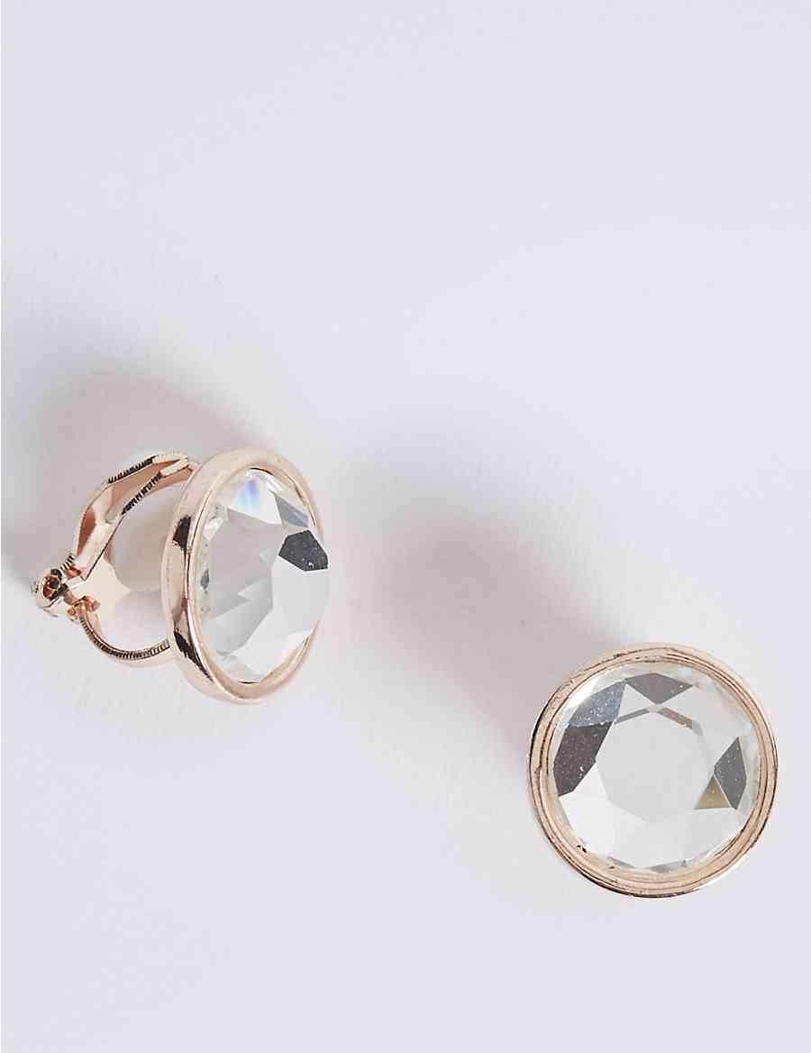 Stone Clip On Stud Earrings