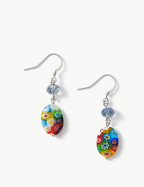 Floral Beaded Drop Earrings