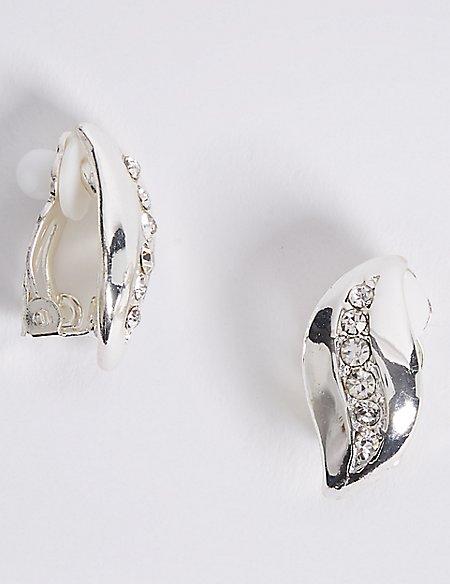 Silver Plated Wave Stud Earrings