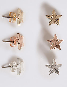 Triple Pack Star Stud Earrings Set