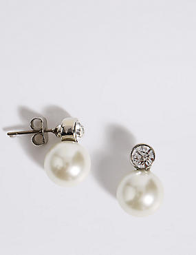 Pearl Effect Snowman Diamanté Stud Earrings