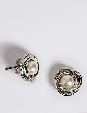 Pearl Effect Twisted Knot Stud Earrings