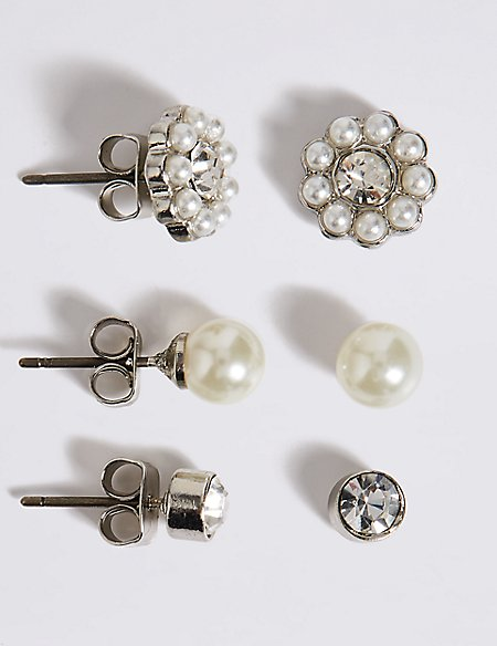 Pearl Effect & Dainty Diamanté Stud Trio Earrings Set