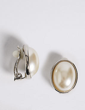 Pearl Effect Oval Clip-On Earrings
