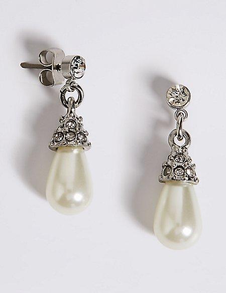 Pearl Effect Diamanté Almond Drop Earrings