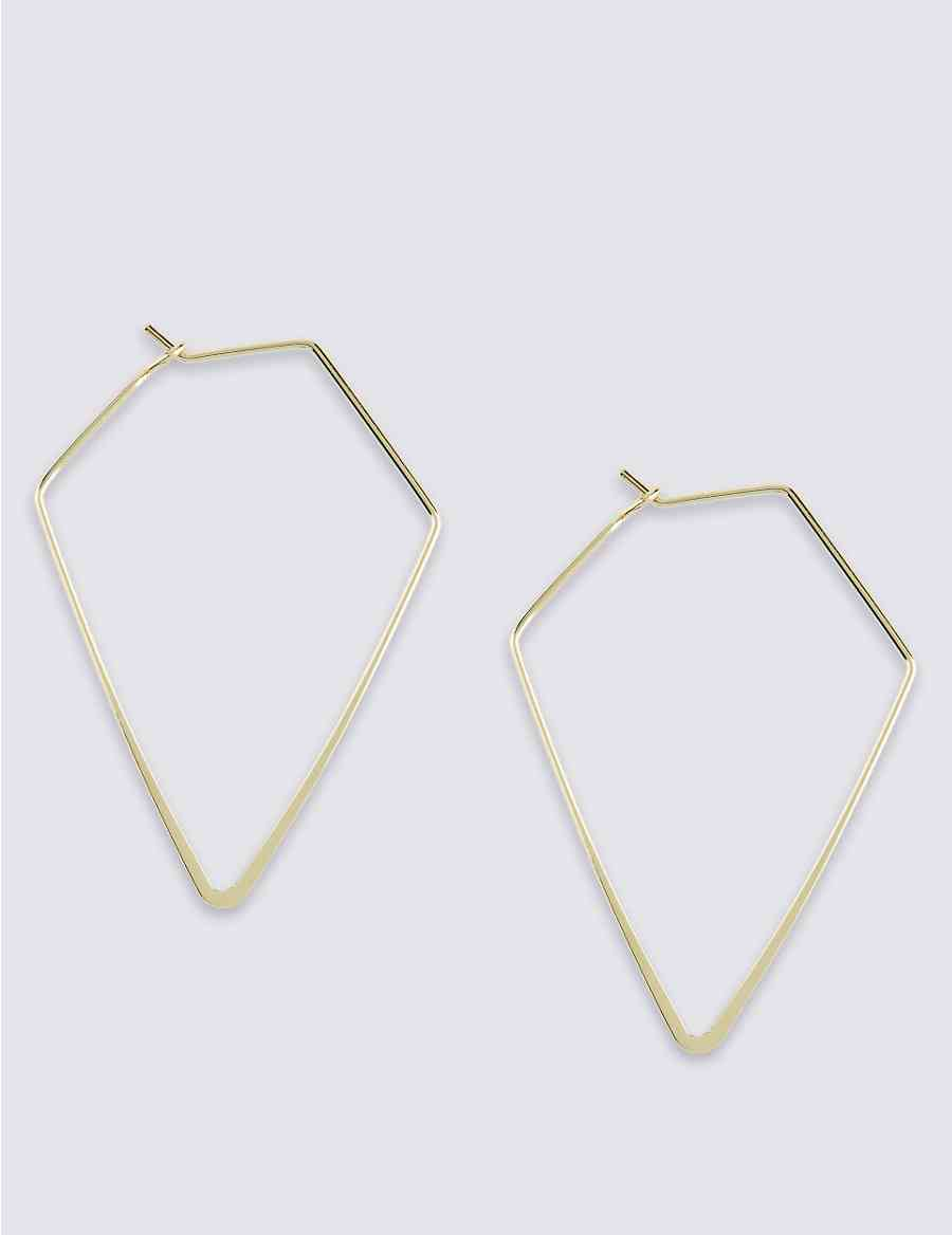 Diamond Shaped Hoop Earrings