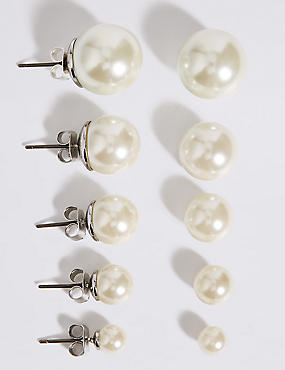 Pearl Effect Stud Earrings Set