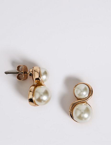 Pearl Effect Twisted Earrings