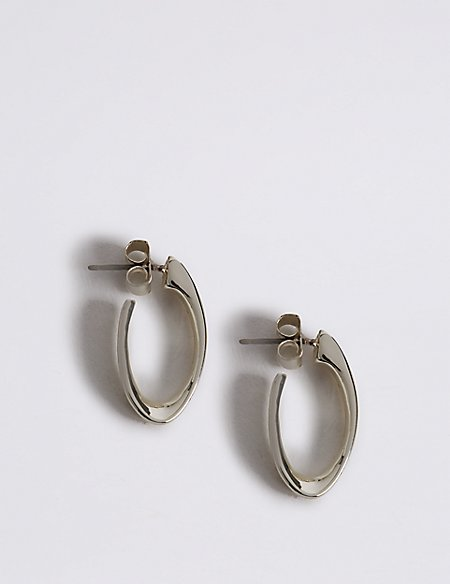 Silver Plated Long Twist Hoop Earrings