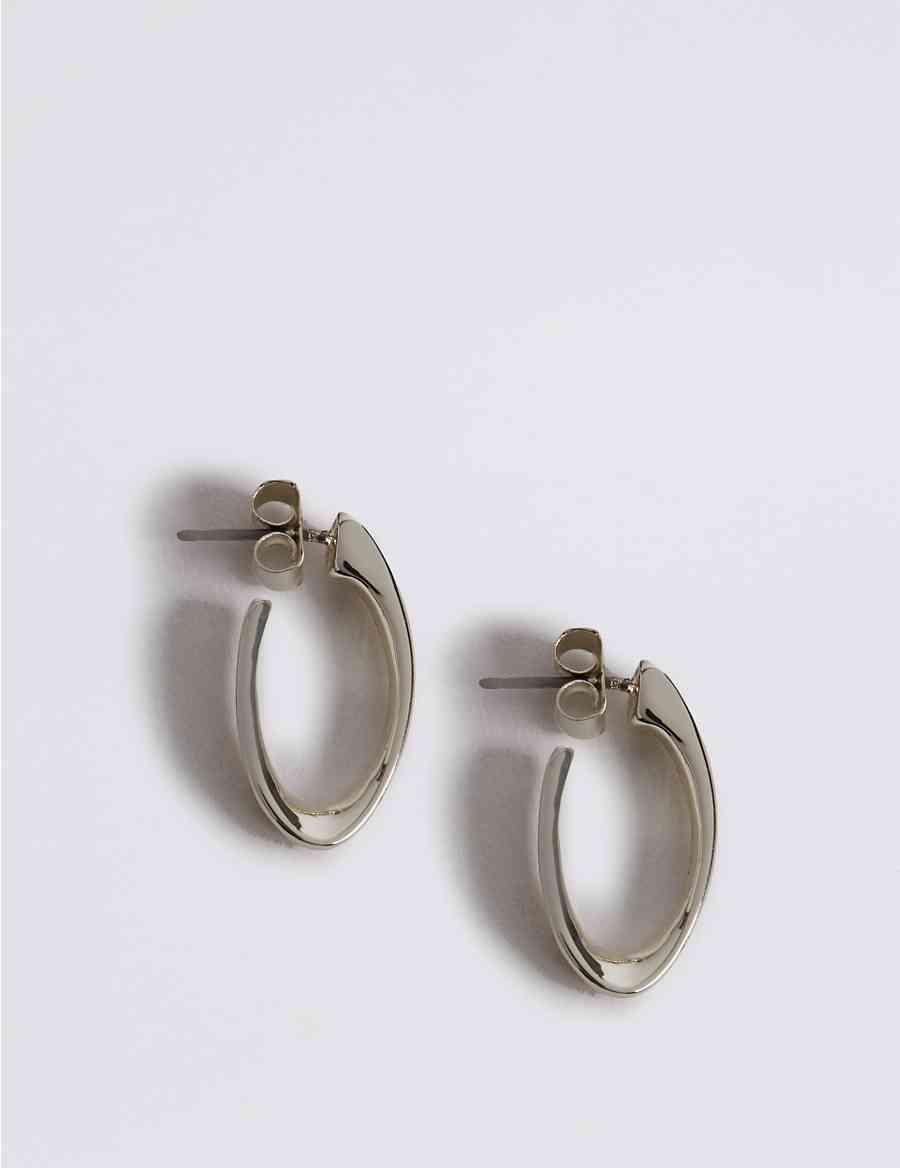 Silver Plated Long Twist Hoop Earrings