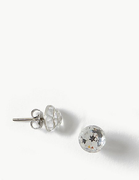 Dome Stud Earrings With Swarovski® Crystals