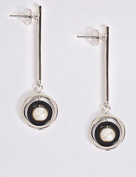 Stick Round Drop Earrings