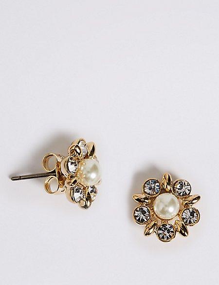 Pearl Effect Diamanté Stud Earrings