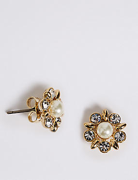 Pearl Effect Diamanté Stud Earrings