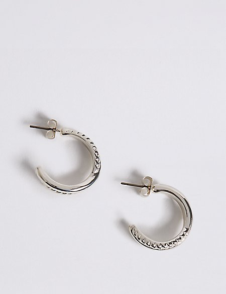 Silver Plated Twisted Hoop Earrings