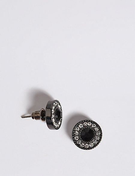 Circle Stone Diamanté Stud Earrings