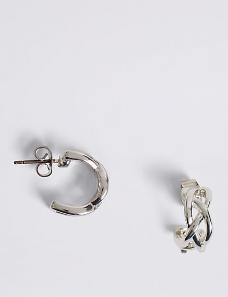 Silver Plated Criss-Cross Hoop Earrings
