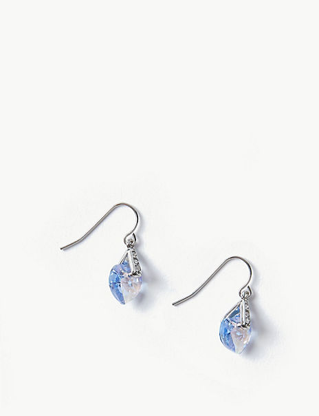 Heart Drop Earrings with Swarovski® Crystals