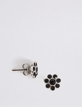 Diamanté Floral Stud Earrings