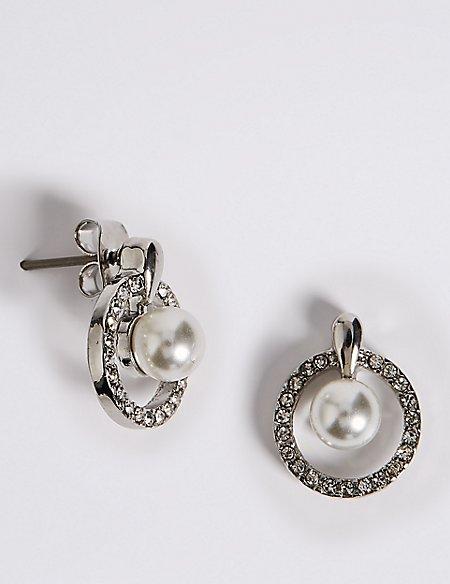 Pavé Pearl Drop Stud Earrings