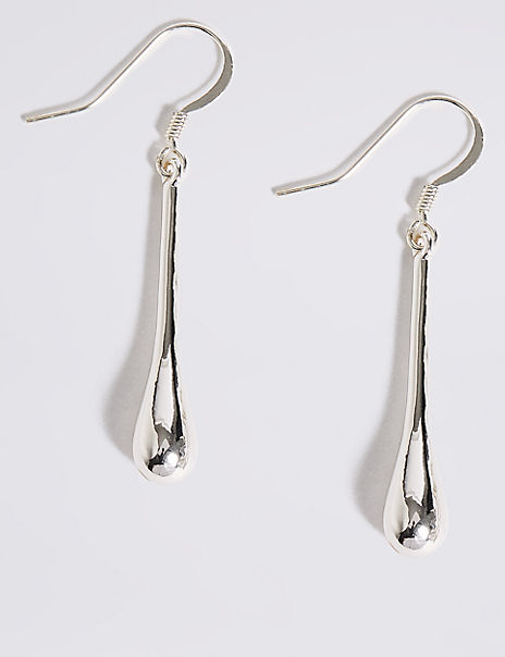 Silver Plated Smooth Baton Drop Earrings