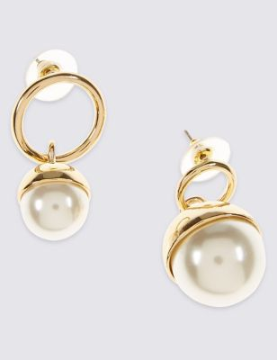 Mismatch Mixed Pearl Ball Drop Earrings