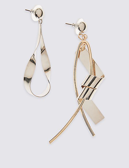 metallic lyst jewelry mismatch earrings linear silver in panacea