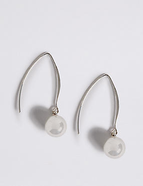 Silver Plated Floating Ball Drop Earrings