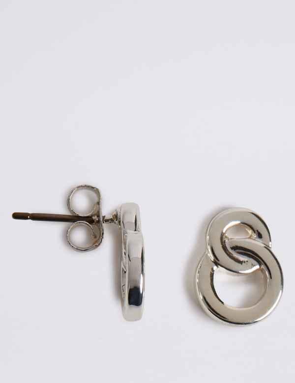 7b9d742ac Silver Plated Figure Stud Earrings
