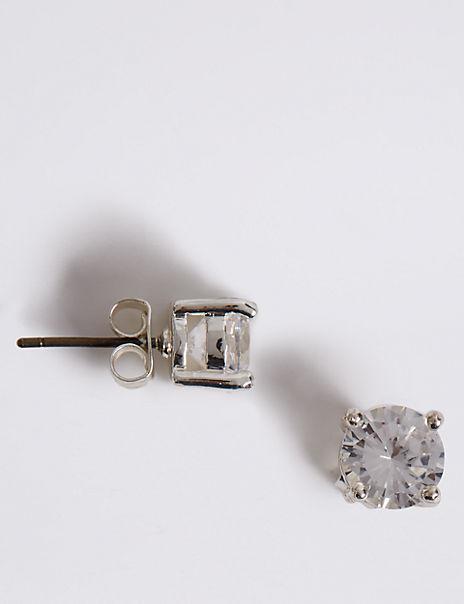 Silver Plated Crystal Stud Earrings