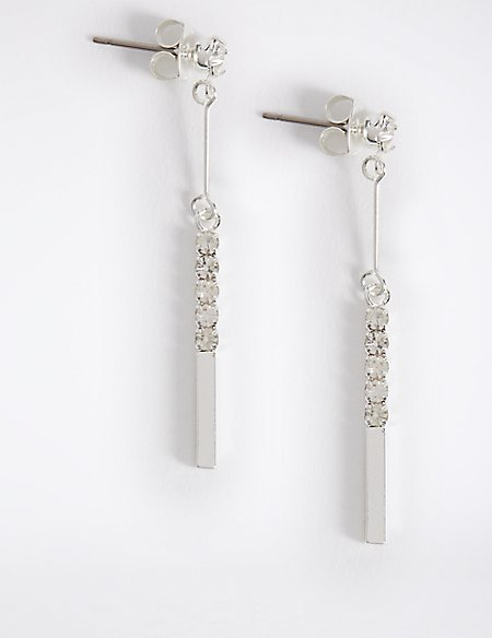 Silver Plated Sparkle Stick Drop Earrings