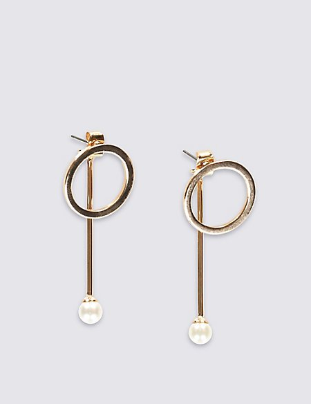 Circle & Pearl Effect Earrings