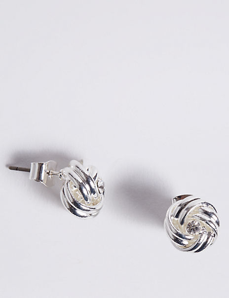 Silver Plated Diamanté Knot Stud Earrings