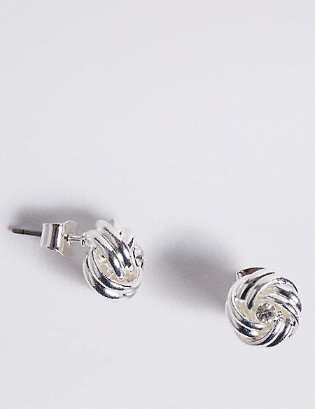 Silver Plated Diamanté Knot Stud Earrings