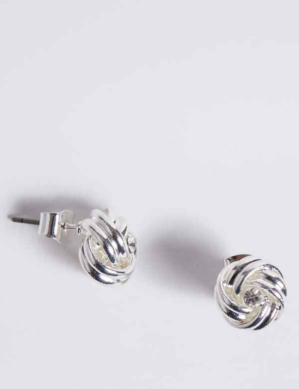 392b192b5 Silver Plated Diamanté Knot Stud Earrings